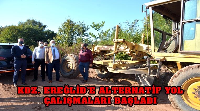 KDZ. EREĞLİ'DE ALTERNATİF YOL ÇALIŞMALARI BAŞLADI.