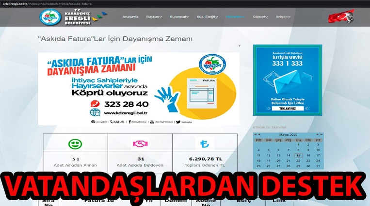 'ASKIDA FATURA' UYGULAMASINA VATANDAŞLAR DESTEK VERDİ
